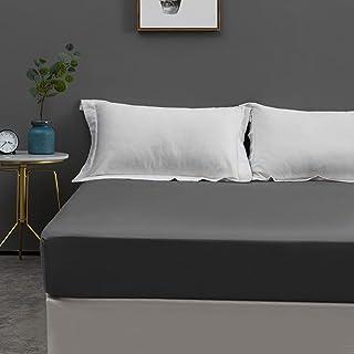 MOHAP 300 TC 100% Coton Drap Housse 160x200cm Gris Bonnet Elastique 30cm