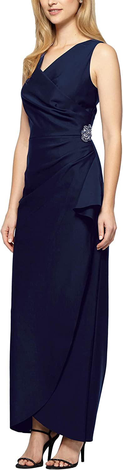 Alex Evenings Women's Slimming Long Side Ruched Dress with Cascade Ruffle Skirt
