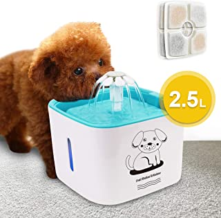 VIGLT Cat Water Fountain, LED Indicator Pet Water Fountain 2.5L/84oz Automatic Pet Fountain Dog Water Dispenser with 2 Replacement Filters