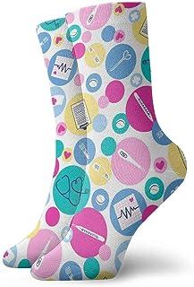tyui7, Prueba de embarazo Stick Audífono Calcetines de compresión antideslizantes Cosy Athletic 30cm Crew Calcetines para hombres, mujeres, niños