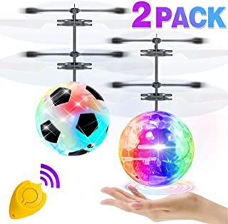 2 Pack Flying Ball Toys, RC Flying Toys for Kids Boys Girls Xmas Holiday Birthday Gifts Remote Control Drone Helicopter Rechargeable Light Up Ball Infrared Induction RC Drone Toy