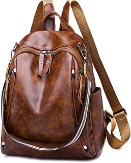 Qyoubi Women's Soft Leather Fashion Backpack Purse Casual Travel Student School Anti-theft Shopping Convertible Bag