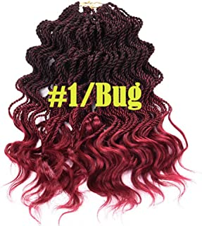 3Packs 14Inches Ombre Synthetic Hair Wavy Senegalese Twist Crochet Hair Braids Curly Crochet Twist Braids Wavy Ends 1B/Bug Color Synthetic Hair Extension 35 Strands/Pack 1B/Burgundy