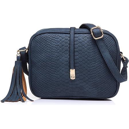 Realer Pequeño cuero Crossbody monederos y bolsos con correa para el hombro para la Mujer Azul profundo