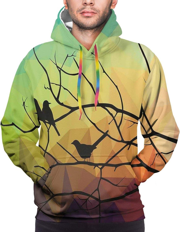 Men's Hoodies Sweatshirts,Birds On Branch Abstract Valentines Heart Nature Environment Ornate Romance