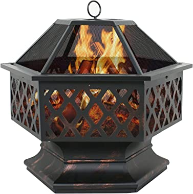 F2C Outdoor Heavy Steel 24 inch Fire Pit Wood Burning Fireplace Patio Backyard Heater Steel Hex Shaped Firepit Bowl