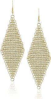 Diamond Shaped Metal Mesh Statement Hook Dangle Earrings by Lovey Lovey