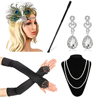 1920s Accessories for Women 20s Gatsby Costume Flapper Headband Necklace Gloves Cigarette Holder