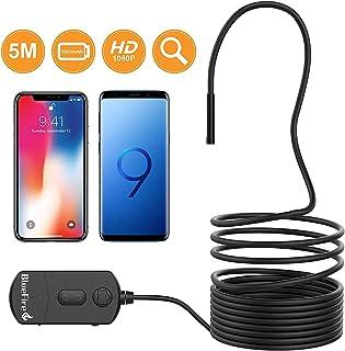 BlueFire Mejorada 1080P WiFi Endoscopio,IP68 Impermeable Cámara de Inspección de Boroscopio 5.5MM Distancia Focal con 6 LED Ajustable y Batería 1800mAh para IPad/Android/IPhone (5Metros)