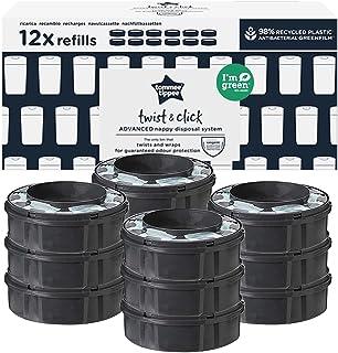 Tommee Tippee Twist and Click Advanced Luieremmer Refill Cassettes, Duurzaam Gebrouwen Antibacteriële GREENFILM