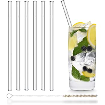 HALM Pajitas de cristal reutilizables ecológicas - 6 piezas de 20 cm + cepillo de limpieza ecológico - apto para lavavajillas - Sostenible - Pajitas de vidrio para cóctel, batido, smoothie