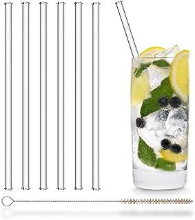 HALM Glas Strohhalme Wiederverwendbar Trinkhalm - 6 Stück gerade 20 cm  plastikfreie Reinigungsbürste - Spülmaschinenfest - Nachhaltig - Glastrinkhalme Glasstrohalme für Long-Drinks, Smoothies, Saft
