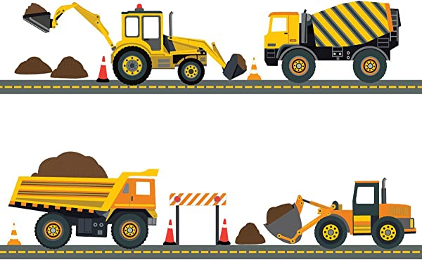 Four Construction Vehicles With 15 Feet Straight Gray Road Wall Decals Repositionable Peel And Stick