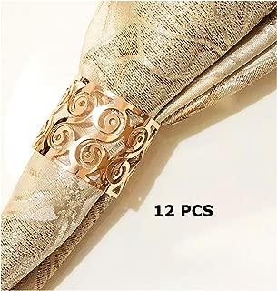 Napkin Ring,12 Pcs Flower Pattern Design Napkin Rings Buckles Holders for Wedding Dinner Party Table Festival Decoration (Rose Gold)