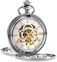 ManChDa Pocket Watch Retro Smooth Classic Mechanical Hand-Wind Steampunk Roman Numerals Fob Watch for Men Women with Chain + Gift Box