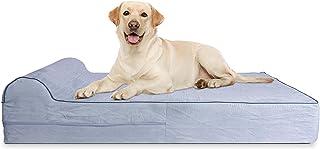 KOPEKS - Cama Extra Grande para Perros Mascotas con Memoria Viscoelástica Ortopédico 127 x 85 x 18 cm más la Almohada, Gris, XL