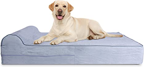 7-inch Thick High Grade Orthopedic Memory Foam Dog Bed With Pillow and Easy to Wash Removable Cover with Anti-Slip Bottom. Free Waterproof Liner Included - JUMBO XL for Large Dogs
