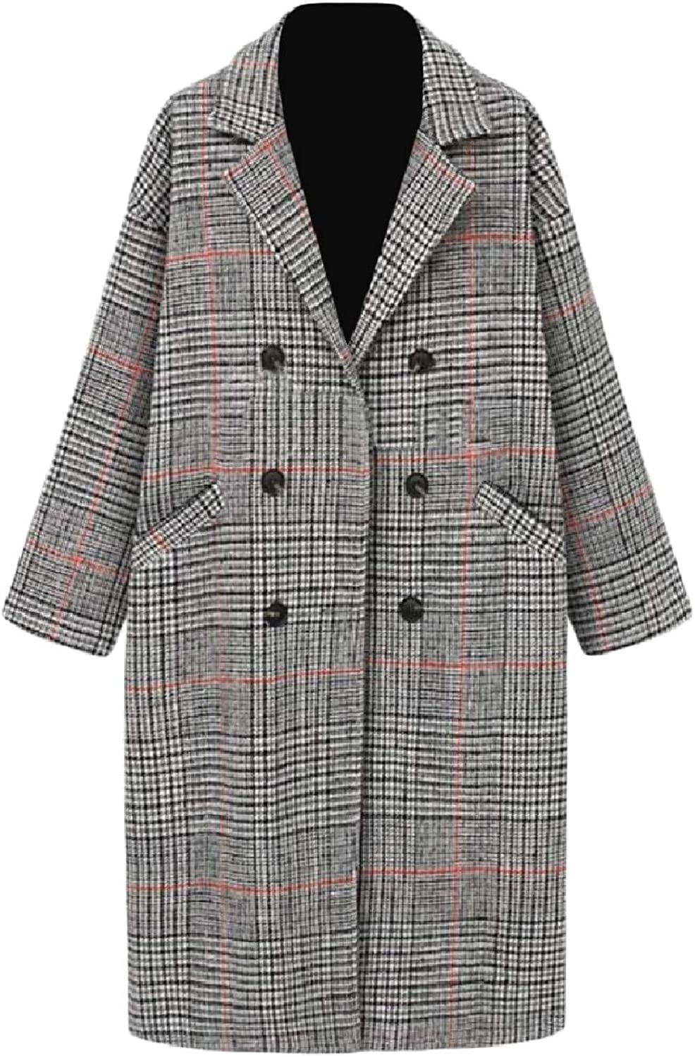 Winme Womens Casual Thick Lapel Collar Plaid Woolen Trench Coat Outwear
