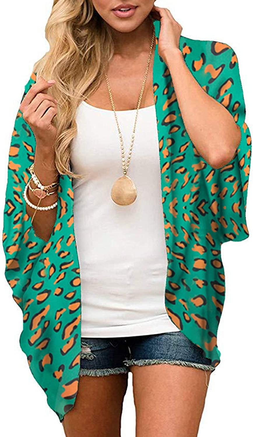 Zando Floral Kimonos for Women Swimsuit Cover Ups Open Front Summer Tops Cardigan Half Sleeve Sheer Shawls and Wraps