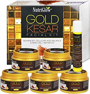 NutriGlow Gold Kesar Facial Kit Instant Radiance Shine & Youthful Glow Facial Kit 250 Gm