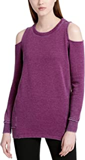 Calvin Klein Women's Performance Distressed Cold-Shoulder Sweatshirt Merlot XS
