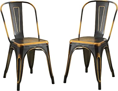 """Major-Q 9096784 Set of 2 33"""" H Retro Copper High Backrest Stationary Seating Metal Side Chair"""