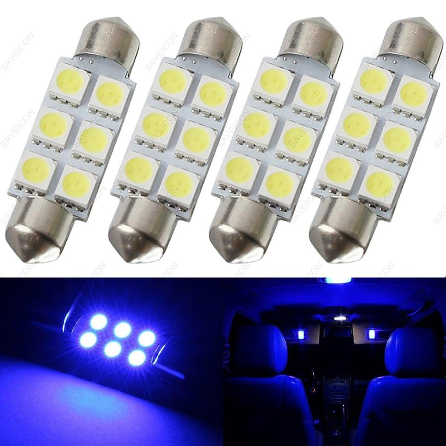 SAWE - 44MM 6-SMD 5050 Festoon Dome Map Interior LED Light Bulbs Lamp For 6411 578 211-2 212-2 (4 pieces) (Blue) umnapdtwizufl918