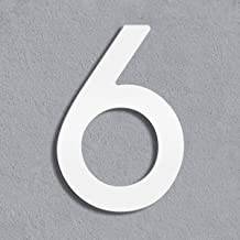 Thorwa® modern design roestvrij staal huisnummer Avant Garde, wit gepoedercoat, H: 160mm, RAL 9003 (6)