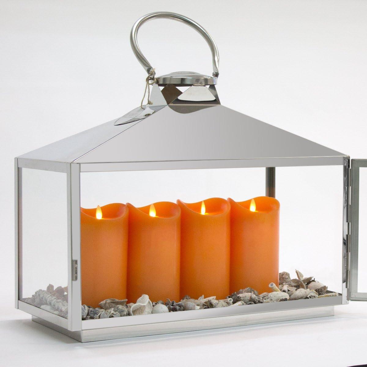 Dekovita Edelstahl-Laterne mit Edelstahlgriff Gartenlaterne Mini Gewächshaus L:50xB27xH55cm mit Glasfenstern Windlicht Kerzen Laterne mit Standard Kerzen Orange