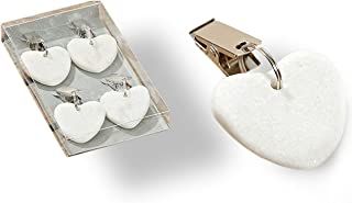 WHW Whole House Worlds Natural Stone Hearts Table Cloth Weights on Clip Hangers, White, Set of 4