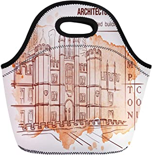 Semtomn Lunch Bags History of the British Architectural Styles Tudor Architecture Hampton Neoprene Lunch Bag Lunchbox Tote Bag Portable Picnic Bag Cooler Bag