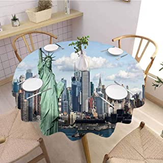 DILITECK New York Restaurant Round Tablecloth Statue of Liberty in NYC Harbor Urban City Print Famous Cultural Landmark Picture Excellent Durability D54 Mint Blue
