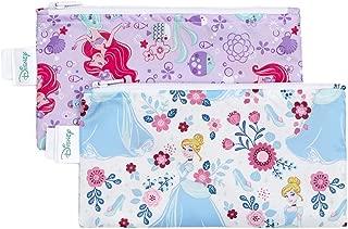 Bumkins Disney Baby Reusable Snack Bag Small 2 Pack, Princess (Ariel/Cinderella)
