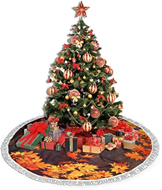 "BONLOR Autumn Leaves Christmas Tree Skirt 36"""" Tree Skirt for Holiday Christmas Decorations Xmas Tree Skirt Xmas Decorations"