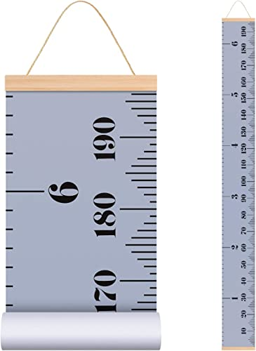 Depory Baby Growth Chart Canvas Wall Hanging Measuring Rulers for Kids Boys Girls Room Decoration Nursery Removable Height and Growth Chart 7.9 x 79 inch