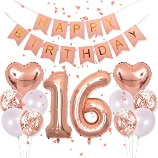 Sweet 16th Decorations Pink Happy Birthday Banner 40inch Rose Gold Number 16 Balloons Rose Gold Confetti Balloons 1