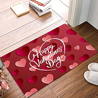 Entrance Way Door Mats Bath Mats Welcome Rugs Happy Valentine's Day with 3D Heart Shapes Pink Red Printed Indoor Mat Rubbe...