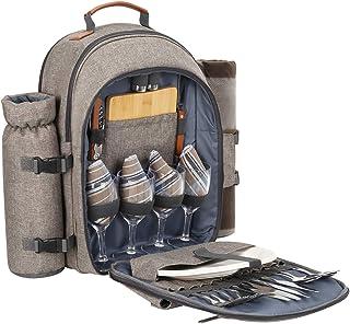 Sunflora Plecak piknikowy dla 4 osób, zestaw piknikowy z izolowaną komorą chłodzącą i kocem na kemping, do aktywności na ś...