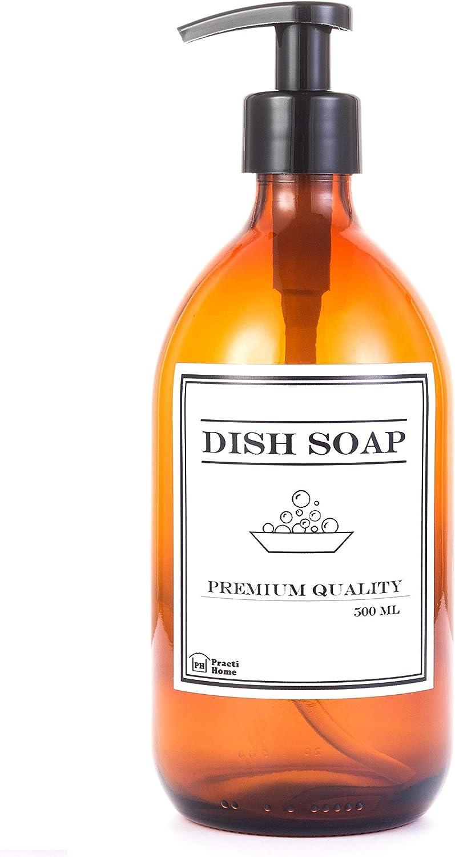 Dispensador para Jabón de Cristal Ambar; Botella de Vidrio 500 ml con Dosificador y Pegatina Dish Soap