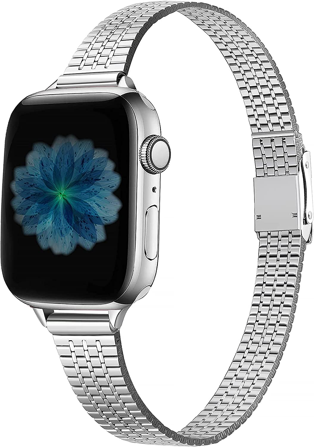 Secbolt Thin Bands Compatible with Apple Watch Band 38mm 40mm 41mm 42mm 44mm 45mm iWatch SE Series 7/6/5/4/3/2/1, Stainless Steel Women Dressy Wristband Secure Double Lock