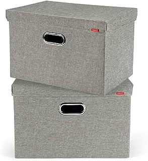 PAVLIT 2 Pcs Cajas de Almacenaje con Tapa, 45x30x30 cm Contenedores de Almacenamiento Plegables para Ropa, Juguetes, Dormi...
