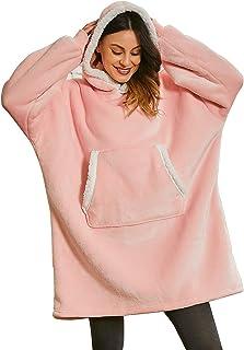 Keluomanduo Oversized Hoodie Sweatshirt, Fleece Warm Wearable Blanket Giant Fluffy Hoodie Large Front Pocket with White Tr...