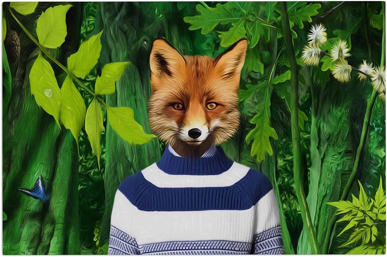 KESS InHouse Natt Into The Leaves N7 Green Fox Decorative Door, 2' x 3' Floor Mat