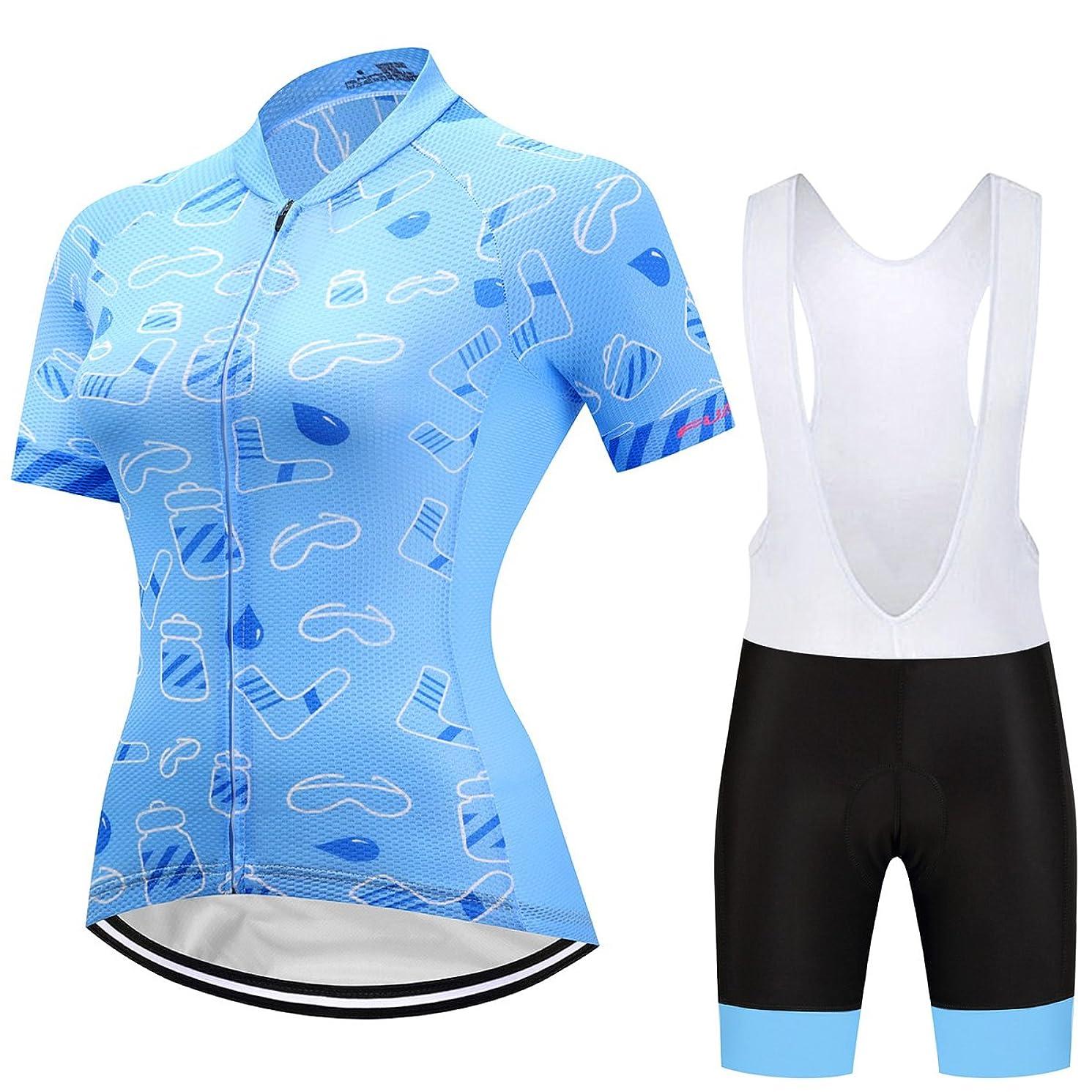 Women's Cycling Jersey Beautiful Bike Full-Zip Short Sleeve Bicycle Clothing Shirt Jacket Summer Padded Pants Set Outfit