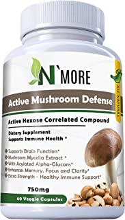 Six Active Mushroom Defense with Active Hexose Correlated Compound Dietary Supplement Supports Immune Health, 60 Veggie Capsules 750 mg