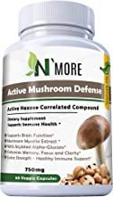 Six Active Mushroom Defense with Active Hexose Correlated Compound Dietary Supplement Supports Immune Health, Compared to AHCC, 60 Veggie Capsules 750 mg per Capsule