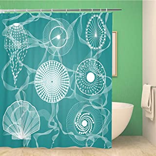 rouihot Bathroom Shower Curtain Blue Life Sea Creatures Colorful Fish Star Drawing Line Polyester Fabric 72x72 inches Waterproof Bath Curtain Set with Hooks