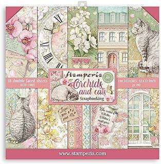 """Stamperia Bloc Papier Scrap double Face 10 feuilles 30,5x30,5 (12""""x12"""") - Orchidées et chats, Multicolore, 5cm"""