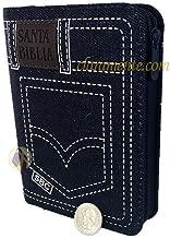 Santa Biblia Jean Pequeña con cierre, Reina-Valera 1960, tela jean azul para jovenes