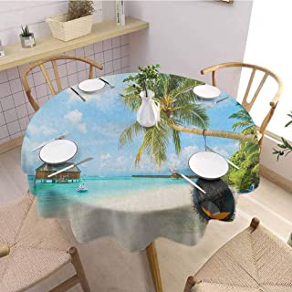 Ocean Easy to Care for Leakproof and Durable Round Tablecloth Exotic Beach in The Maldives with Crystal Waters and Palm Trees on The Sand Tropical Outdoor Picnic D70 Inch Round Multicolor